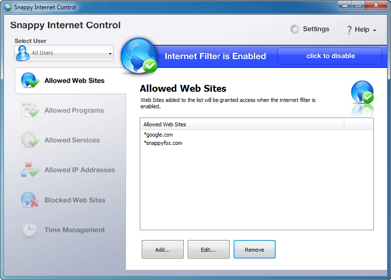 Click to view Snappy Internet Control 1.1.0.269 screenshot